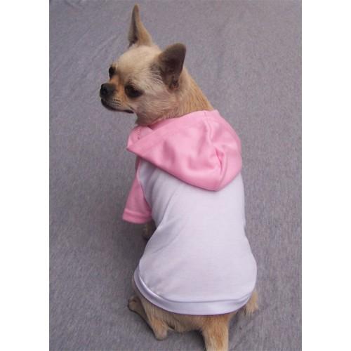 Hoodie T-Shirt - White / Pink